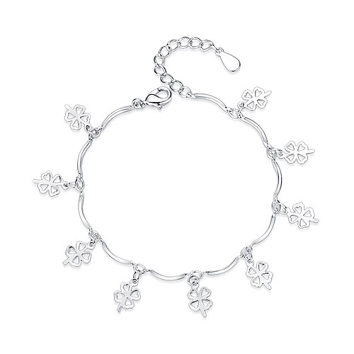 Women's Charm Bracelet Clover Ladies Sweet Fashion Bracelet Jewelry Silver For Gift Daily