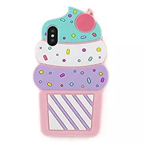 Case For Apple iPhone X / iPhone 8 Pattern Back Cover 3D Cartoon / Ice Cream Soft Silicone for iPhone X / iPhone 8 Plus / iPhone 8