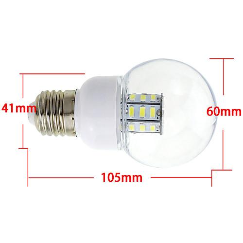 4 Вт. 3000-3500 lm E26/E27 Круглые LED лампы G60 27 светодиоды SMD 5730 Тёплый белый DC 24 В AC 24V AC 12V DC 12V от MiniInTheBox.com INT