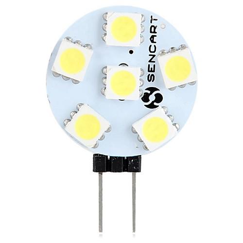 SENCART 1шт 1.5W 60-80lm G4 Двухштырьковые LED лампы T 6 Светодиодные бусины SMD 5050 Декоративная Тёплый белый Белый 12V