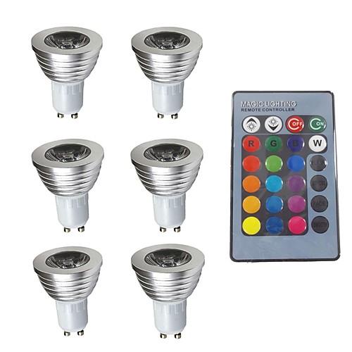 6шт 3W 280lm GU10 Точечное LED освещение 1 Светодиодные бусины Диммируемая Декоративная На пульте управления RGB 200-240V