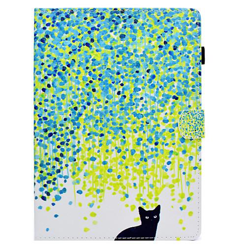 Кейс для Назначение SSamsung Galaxy Tab S2 97 Бумажник для карт со стендом Флип С узором Авто Режим сна  Пробуждение Чехол Кот Твердый