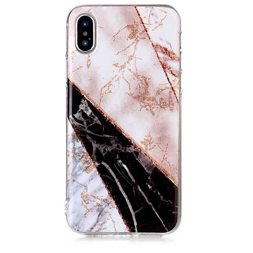 Case For Apple iPhone X / iPhone 8 IMD / Pattern Back Cover Glitter Shine / Marble Soft TPU for iPhone X / iPhone 8 Plus / iPhone 8