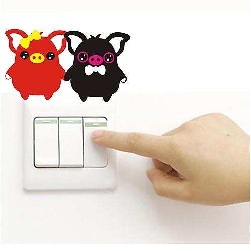 Наклейка на стену Наклейки для выключателя света Наклейки на холодильник - Простые наклейки Животные Съемная наклейка злой холодильник