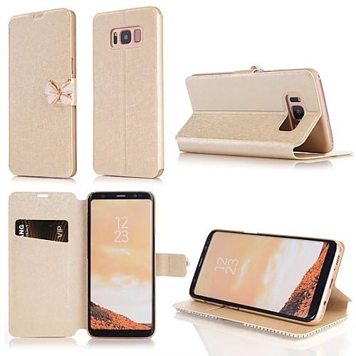 Кейс для Назначение SSamsung Galaxy S9 S9 Plus Бумажник для карт Стразы со стендом Флип Чехол Однотонный Твердый Кожа PU для S9 Plus S9