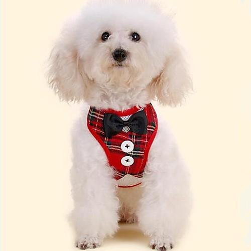 Собаки Маленькие зверьки Животные смокинг Поводки пояс / Бабочка Одежда для собак В клетку Бант Классика Красный Черный Ткань Костюм Для комбинезон дождевик для собак dezzie такса большая