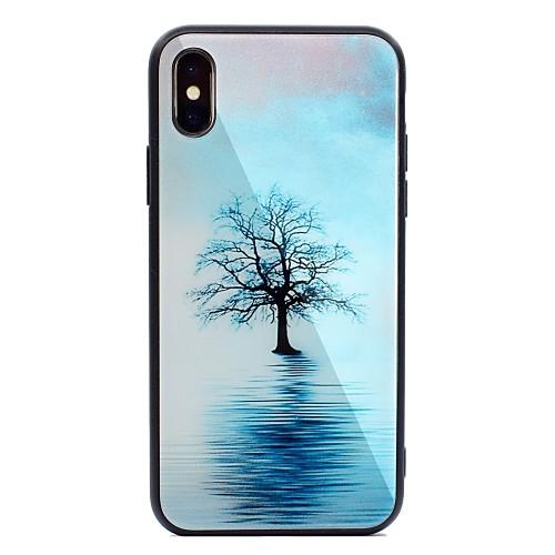 Кейс для Назначение Apple iPhone X iPhone 8 Plus С узором Кейс на заднюю панель дерево Твердый Закаленное стекло для iPhone X iPhone 8 защитное закаленное стекло esr для iphone 8 plus 7 plus 6 plus 6s plus
