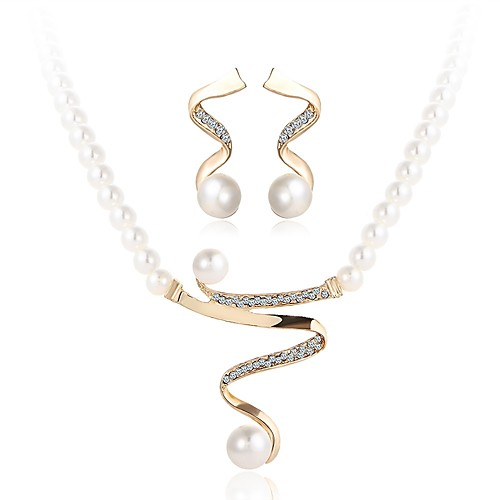 Women's Pearl Jewelry Set Wave Ladies Simple Imitation Pearl Earrings Jewelry Gold For Wedding Ceremony Masquerade Engagement Party Prom Promise