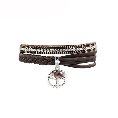 Жен. Кожаные браслеты - Кожа В форме листа Мода Браслеты Коричневый Назначение Подарок / Повседневные бижутерия в подарок