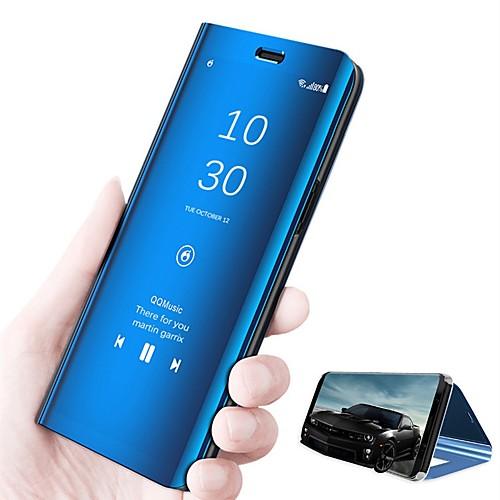 Кейс для Назначение Huawei P20 lite P20 со стендом Зеркальная поверхность Флип Авто Режим сна  Пробуждение Чехол Однотонный Твердый Кожа