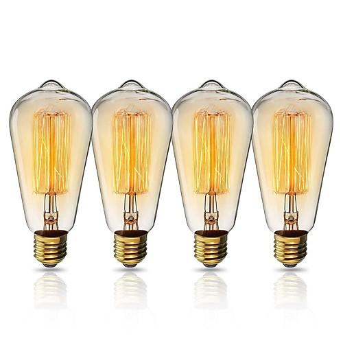 KWB 1 комплект 40W E26 / E27 ST64 Теплый Желтый 2200k Вид на город Лампа накаливания Vintage Эдисон лампочка 220-240V