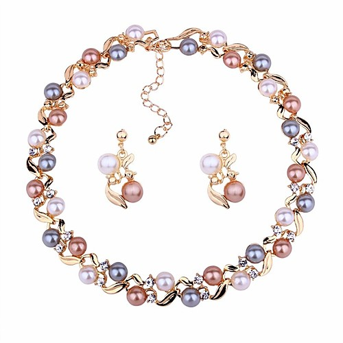 Women's Jewelry Set Drop Earrings Choker Necklace Ball Ladies Classic Fashion Elegant Earrings Jewelry Gold / Silver For Daily Ceremony