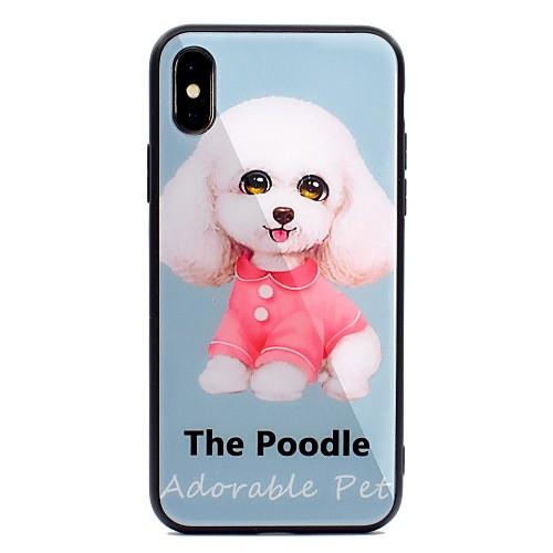 Кейс для Назначение Apple iPhone X iPhone 8 Plus С узором Кейс на заднюю панель С собакой Твердый Закаленное стекло для iPhone X iPhone 8 защитное закаленное стекло esr для iphone 8 plus 7 plus 6 plus 6s plus