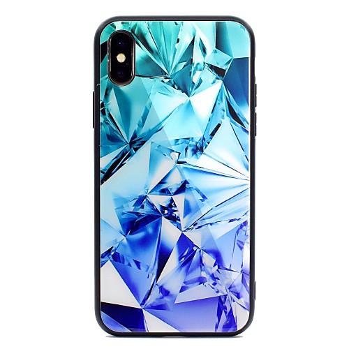Кейс для Назначение Apple iPhone X iPhone 8 Plus С узором Кейс на заднюю панель Геометрический рисунок Твердый Закаленное стекло для защитное закаленное стекло esr для iphone 8 plus 7 plus 6 plus 6s plus