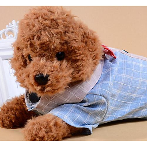 Собаки Коты Футболки Одежда для собак Контрастных цветов В клетку Бант Серый Синий Ткань Костюм Для домашних животных Женский На каждый комбинезон дождевик для собак dezzie мальтийская болонка цвет синий