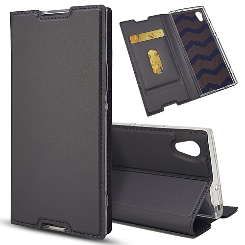 Кейс для Назначение Sony Xperia Z5 Mini Xperia XZ Бумажник для карт со стендом Флип Чехол Однотонный Твердый Кожа PU для Sony Xperia Z5 стоимость