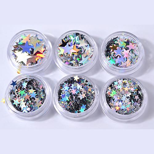 6pcs Пайетки блестит Мерцание Специальный дизайн На каждый день Дизайн ногтей