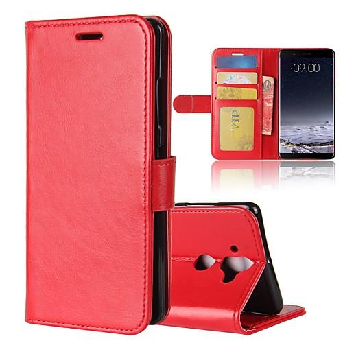 Кейс для Назначение Nokia Nokia 7 Plus Nokia 6 2018 Бумажник для карт Кошелек Флип Магнитный Чехол Однотонный Твердый Кожа PU для Nokia 9