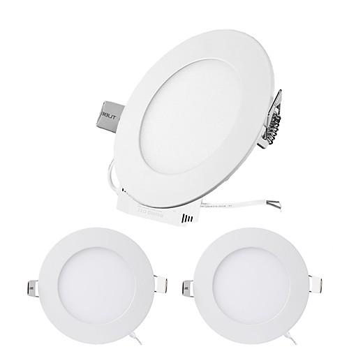 ZDM 3шт 6W 30 светодиоды Простая установка / Встроенные Осветительная панель / LED даунлайт Тёплый белый / Холодный белый / Естественный zdm ™ 6w 480lm круглый даунлайт панель монтажное отверстие 105мм 100 240в вход