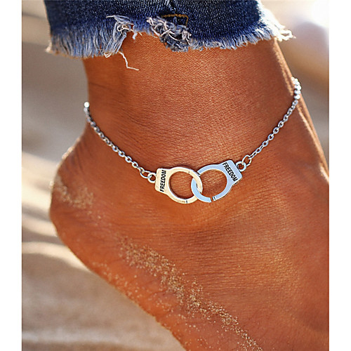 Women's Anklet feet jewelry Double Handcuff Partners in Crime Alphabet Shape Ladies Vintage Bohemian Fashion Boho Anklet Jewelry Silver For Going out Bikini