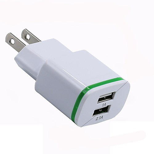 Portable Charger USB Charger US Plug Multi-Output 2 USB Ports 1 A / 2.1 A 110~220 V for