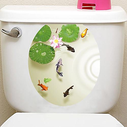 Декоративные наклейки на стены Наклейки для туалета - Простые наклейки Пейзаж 3D Гостиная Спальня Ванная комната Кухня Столовая Кабинет / фото