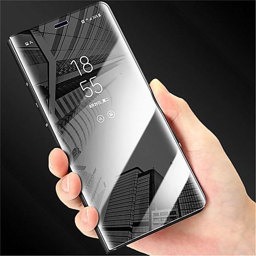 Кейс для Назначение Huawei P20 Pro  P20 со стендом  Покрытие  Зеркальная поверхность Чехол Однотонный Твердый Кожа PU для Huawei P20