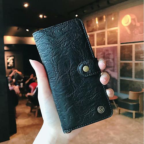 Кейс для Назначение Huawei P20  P20 Pro Кошелек  Бумажник для карт  Флип Чехол Однотонный Твердый Настоящая кожа для Huawei P20