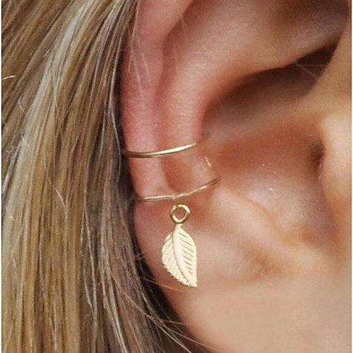 6dcab1c3b Women's Geometrical Clip on Earring Ear Cuff One Earring Earrings Leaf  Statement Ladies Jewelry Gold / Silver For Evening Party Street 1pc