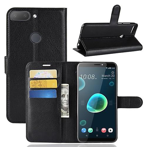 Кейс для Назначение HTC U11 / HTC Desire 12 Кошелек / Бумажник для карт / Флип Чехол Однотонный Твердый Кожа PU для HTC U11 plus / HTC смартфон htc u11 128 гб черный 99hamb123 00