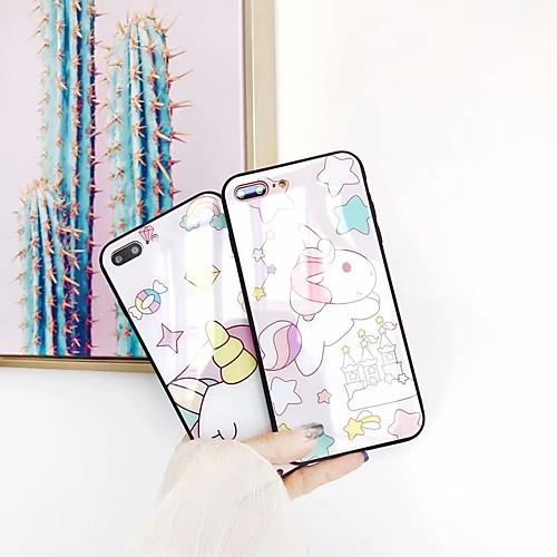 Кейс для Назначение Apple iPhone 6s / iPhone 7 Plus Милый Кейс на заднюю панель единорогом Твердый Закаленное стекло для iPhone X / защитное закаленное стекло esr для iphone 8 plus 7 plus 6 plus 6s plus