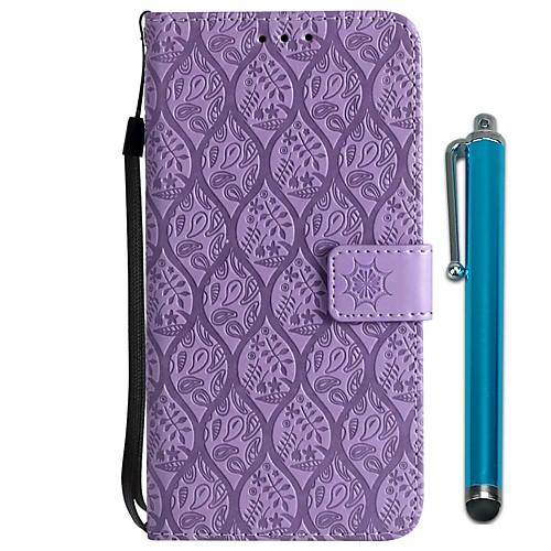 Кейс для Назначение Huawei P20  P20 lite Кошелек  Бумажник для карт  со стендом Чехол Цветы Твердый Кожа PU для Huawei P20  Huawei