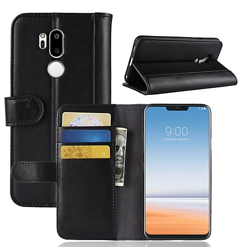 Кейс для Назначение LG LG V20 MINI / G7 Кошелек / Бумажник для карт / Флип Чехол Однотонный Твердый Настоящая кожа для LG V30 / LG V20 кейс для назначение lg k10 2018 g7 бумажник для карт кошелек со стендом чехол перья твердый кожа pu для lg v30 lg v20 lg q6