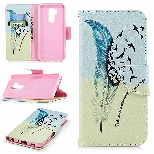 Кейс для Назначение LG K10 2018 / G7 Бумажник для карт / Кошелек / со стендом Чехол Перья Твердый Кожа PU для LG V30 / LG V20 / LG Q6 кейс для назначение lg k8 lg lg k5 lg k4 lg k10 lg k7 lg g5 lg g4 бумажник для карт кошелек со стендом флип чехол сплошной цвет твердый