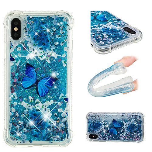 Кейс для Назначение Apple iPhone X / iPhone 8 Plus Защита от удара / Движущаяся жидкость / С узором Кейс на заднюю панель Бабочка / Сияние и блеск Мягкий ТПУ для iPhone X / iPhone 8 Pluss / iPhone 8