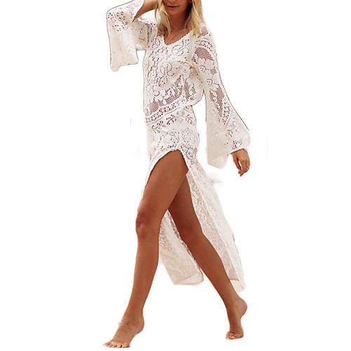 Жен. Пляж Богемный Свободный силуэт Оболочка Платье - Однотонный, Кружева Завышенная Ассиметричное / Сексуальные платья фото