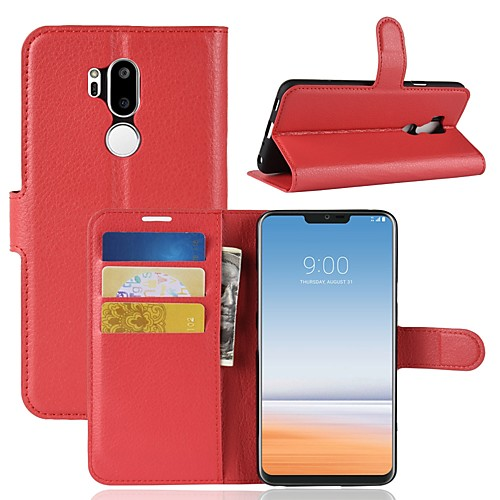 цена на Кейс для Назначение LG K10 2018 / G7 Кошелек / Бумажник для карт / Флип Чехол Однотонный Твердый Кожа PU для LG X venture / LG V30 / LG
