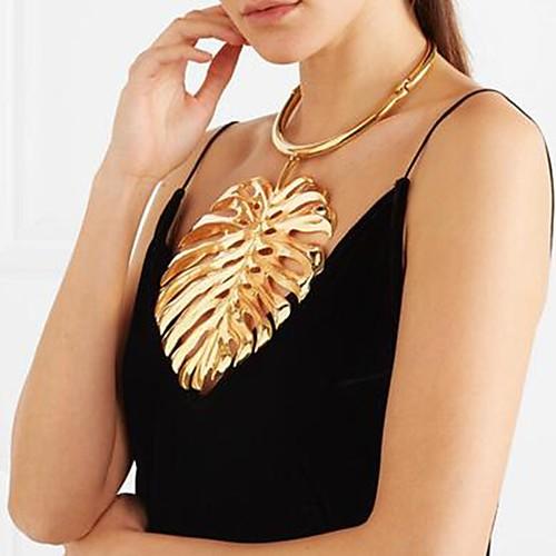 Жен. Стильные Длинные ожерелья Ожерелья с подвесками / Заявление ожерелья / Винтажное ожерелье - В форме листа, Креатив Дамы, Уникальный дизайн, европейский, Крупногабаритные Cool / Цепочка