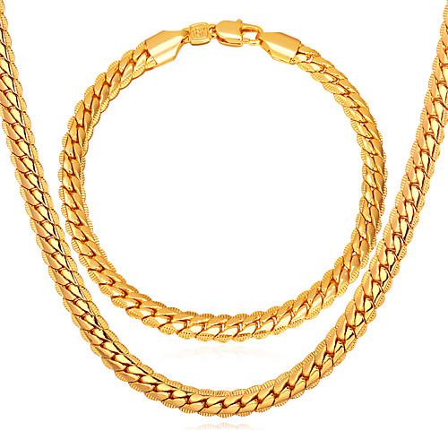 Муж. Золотистый Комплект ювелирных изделий 1 ожерелье / 1 браслет - Мода Крутящийся твист Золотой Браслеты-цепочки и звенья /