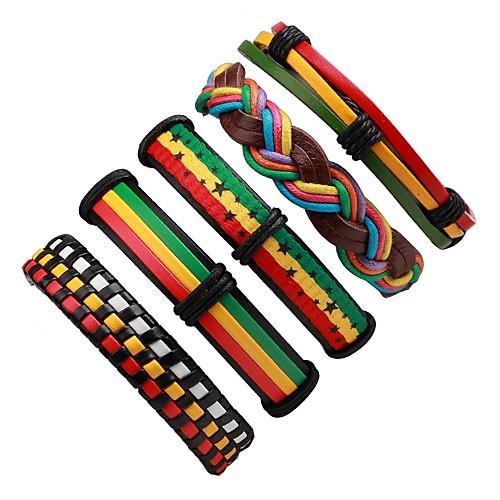 Муж. 5 шт. Кожаные браслеты - Мода Цвет радуги Браслеты Назначение Официальные / Для улицы браслеты