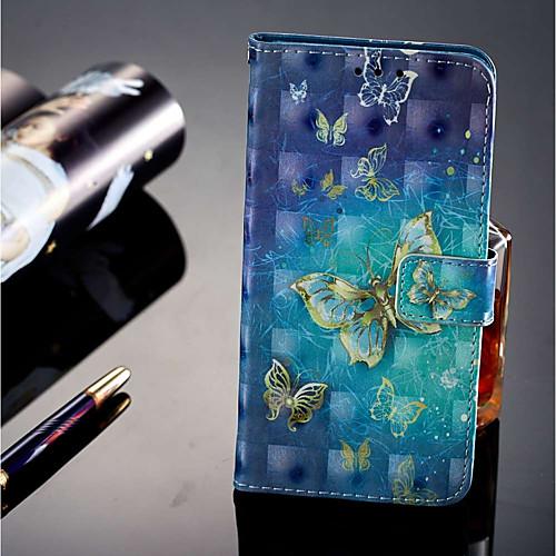 Кейс для Назначение Huawei P20 lite / P20 Pro Бумажник для карт / Кошелек / со стендом Чехол Бабочка Твердый Кожа PU для Huawei P20 lite кейс для назначение huawei p20 pro p20 lite кошелек бумажник для карт со стендом чехол бабочка твердый кожа pu для huawei p20 huawei p20 pro huawei p20 lite