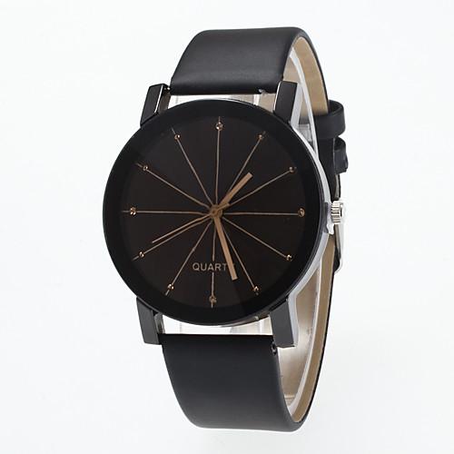 Муж. Жен. Наручные часы Кварцевый Кожа Черный Крупный циферблат Аналоговый Мода минималист - Черный фото
