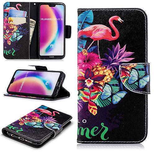 Кейс для Назначение Huawei P20 Pro / P20 lite Кошелек / Бумажник для карт / со стендом Чехол Фламинго Твердый Кожа PU для Huawei P20 / Huawei P20 Pro / Huawei P20 lite / P10 Lite фото