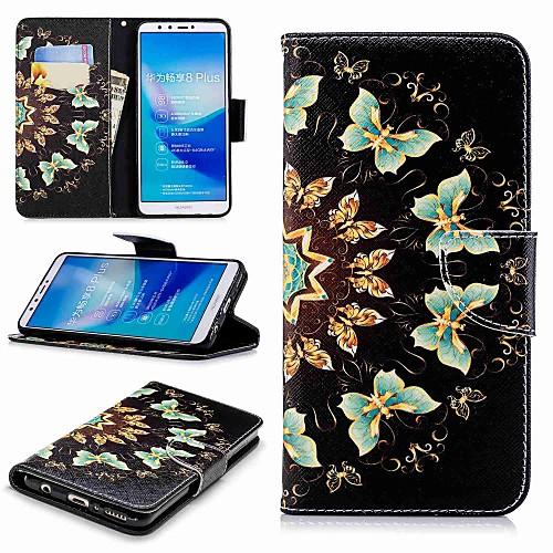Кейс для Назначение Huawei Y9 (2018)(Enjoy 8 Plus) Кошелек / Бумажник для карт / со стендом Чехол Бабочка Твердый Кожа PU для Huawei Y7(Nova Lite) / Huawei Y6 (2018) / Huawei Y6 (2017)(Nova Young) чехол для сотового телефона huawei nova lite translucent black 51992091
