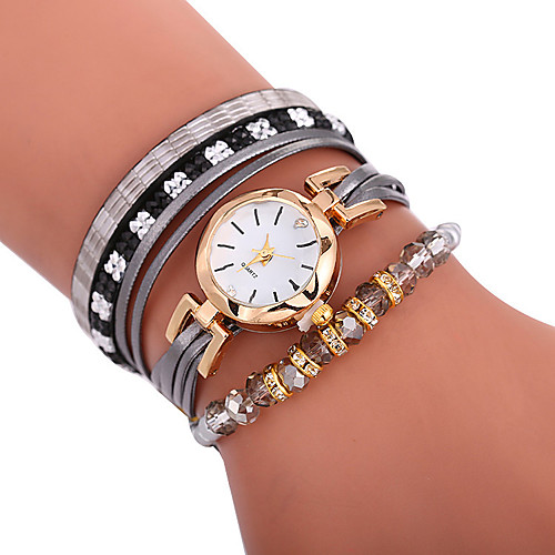 Xu™ Women's Bracelet Watch Wrist Watch Wrap Bracelet Watch Quartz Quilted PU Leather Black / White / Blue Creative Casual Watch Adorable Analog Ladies Bohemian Fashion - Brown Red Blue One Year