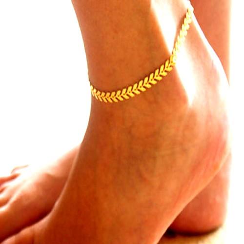 Ножной браслет - В форме листа Винтаж, Мода, Массивный Золотой / Серебряный Назначение Повседневные / Офис / Жен.