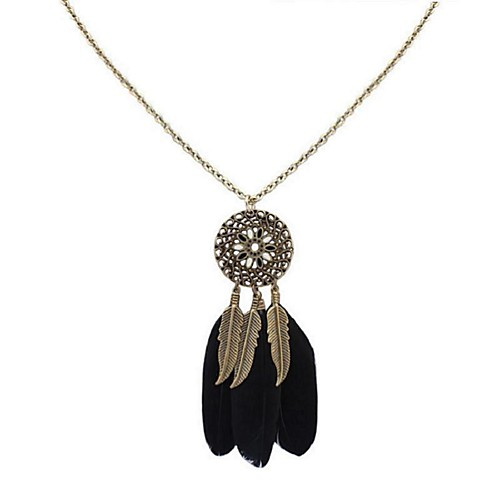 Women's Burgundy Pendant Necklace Long Feather Ladies Stylish Vintage Ethnic Feather Alloy Blue Pink Light Green 70 cm Necklace Jewelry 1pc For Daily Date