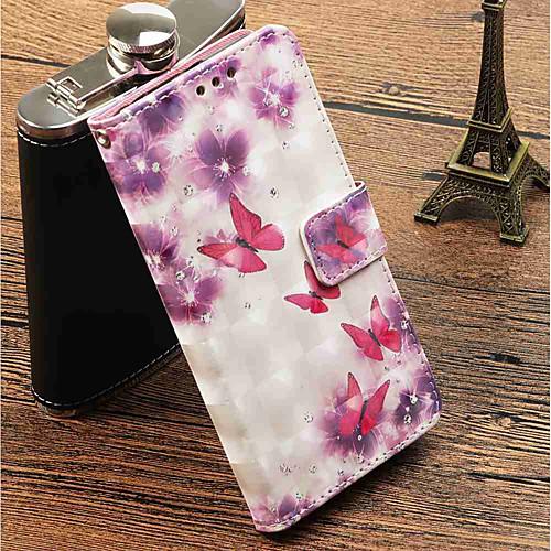Кейс для Назначение Huawei P20 Pro  P20 lite Кошелек  Бумажник для карт  со стендом Чехол Бабочка Твердый Кожа PU для Huawei P20  Huawei P20 Pro  Huawei P20 lite