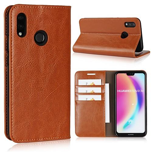 Кейс для Назначение Huawei P20 Pro / P20 lite Кошелек / Бумажник для карт / Флип Чехол Однотонный Твердый Настоящая кожа для Huawei P20 / Huawei P20 Pro / Huawei P20 lite кейс для назначение huawei p20 pro p20 бумажник для карт мешочек однотонный мягкий настоящая кожа для huawei p20 lite huawei p20 pro