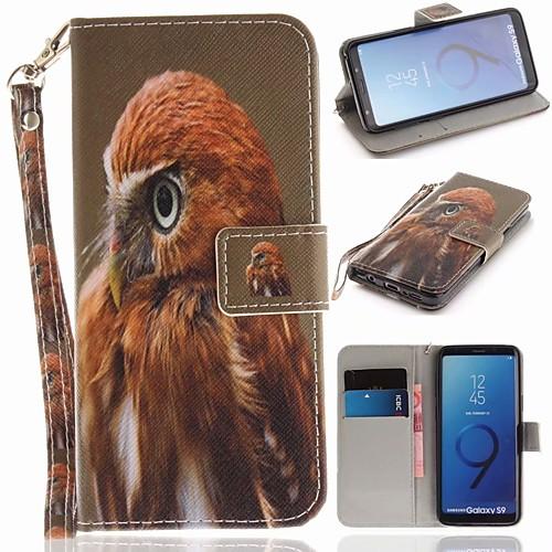 Кейс для Назначение SSamsung Galaxy S9 Кошелек  Бумажник для карт  со стендом Чехол Животное Твердый Кожа PU для S9